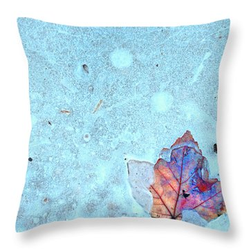 Leaf In Ice Throw Pillow