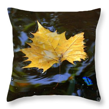 Leaf In Pond Throw Pillow