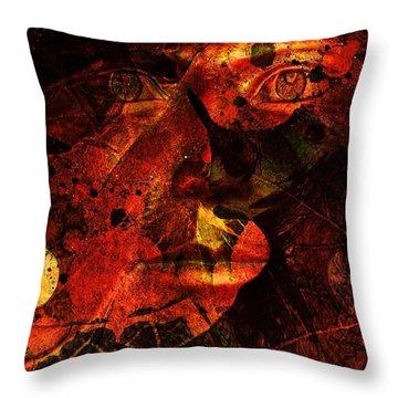 Leaf Man Throw Pillow by Elizabeth McTaggart