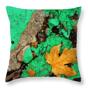 Leaf On Green Cement Throw Pillow by Amy Cicconi