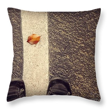 Throw Pillow featuring the photograph Leaf On The Line by Meghan at FireBonnet Art