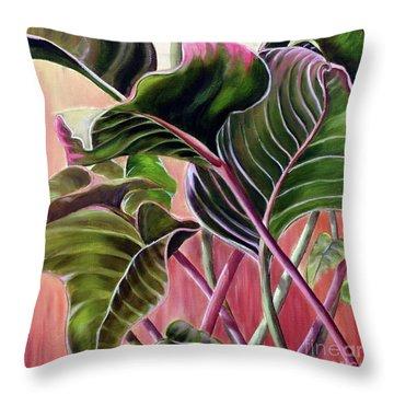 Leafy Throw Pillow by Anna-Maria Dickinson