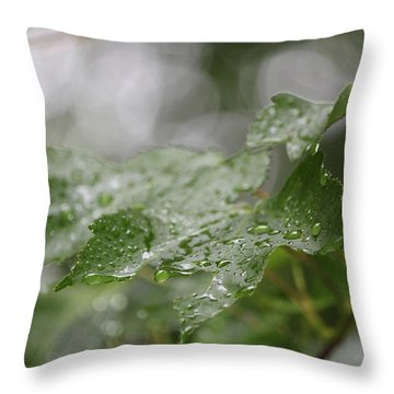 Leafy Raindrops Throw Pillow