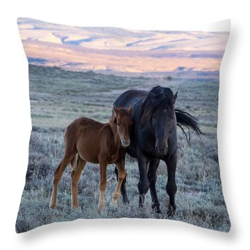 Lean On Me... Ruby And Coal Throw Pillow