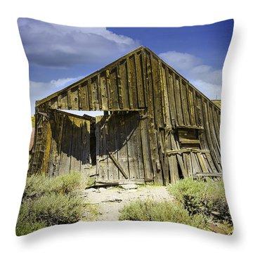 Leaning Barn Of Bodie California Throw Pillow by LeeAnn McLaneGoetz McLaneGoetzStudioLLCcom
