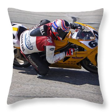 Throw Pillow featuring the pyrography Leaning Into Speed by Shoal Hollingsworth