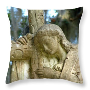 Leaning On The Cross Throw Pillow