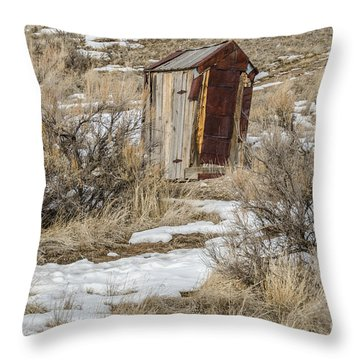 Leaning Outhouse Throw Pillow