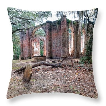 Leaning Tomb - Old Sheldon Church Ruins Throw Pillow