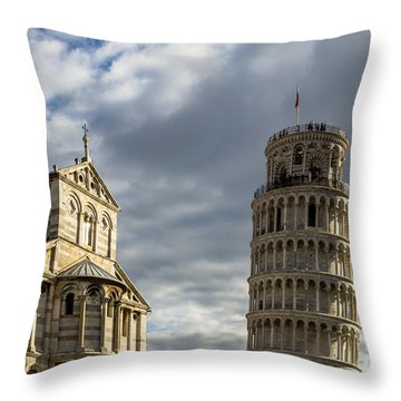 Leaning Tower And Duomo Di Pisa Throw Pillow