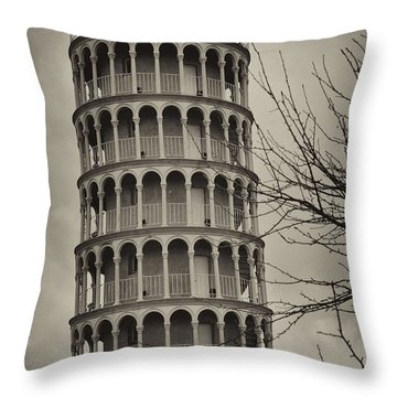 Throw Pillow featuring the photograph Leaning Tower by Miguel Winterpacht
