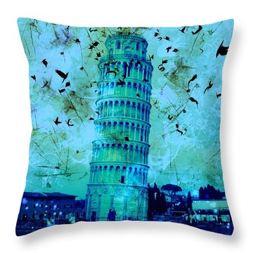 Leaning Tower Of Pisa 3 Blue Throw Pillow