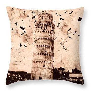 Leaning Tower Of Pisa Sepia Throw Pillow