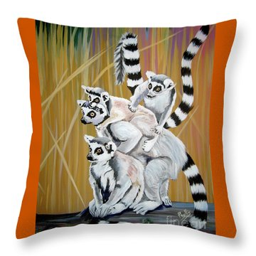 Leapin Lemurs Throw Pillow