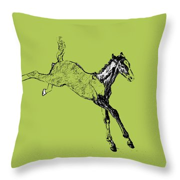 Leaping Foal Greens Throw Pillow