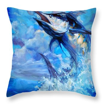 Leaping Marlin Throw Pillow