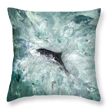 Leaping Salmon Throw Pillow by Carol Rowland