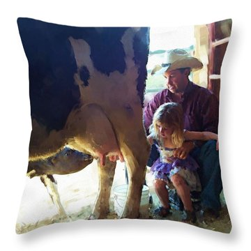 Learning How To Get Milk Throw Pillow