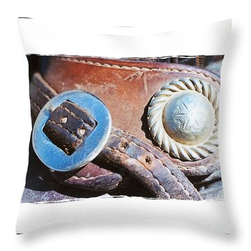 Leather And Silver Throw Pillow