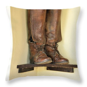 Leather Boots On Shelf Jamaica Throw Pillow