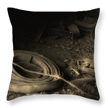 Leather Strap Still Life Throw Pillow by Tom Mc Nemar