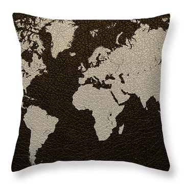 Leather Texture Map Of The World Throw Pillow