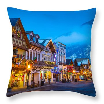 Leavenworth Skyline Throw Pillow by Inge Johnsson