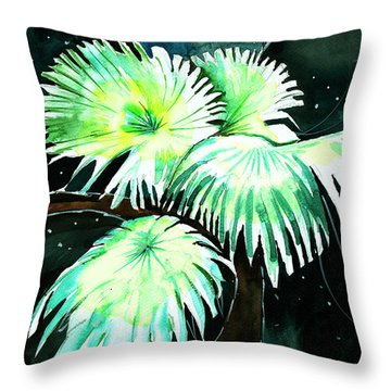 Leaves Throw Pillow by Anil Nene