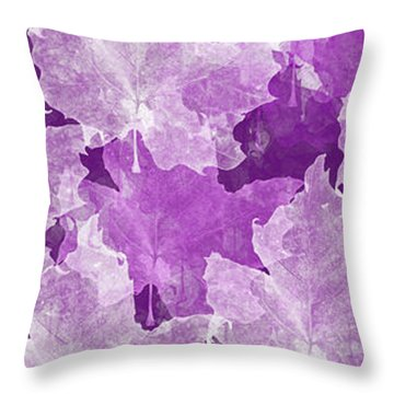 Leaves In Radiant Orchid Panorama Throw Pillow by Andee Design