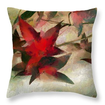 Throw Pillow featuring the painting Leaves In The Wind by Wayne Pascall