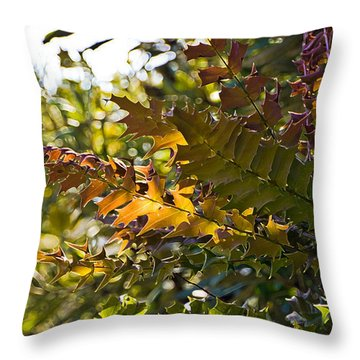 Leaves Throw Pillow by Kate Brown