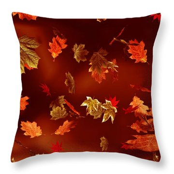 Leaves Throw Pillow by Matt Lindley