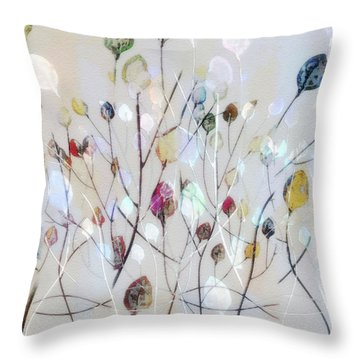 Throw Pillow featuring the digital art Leaves Of Color by Nina Bradica