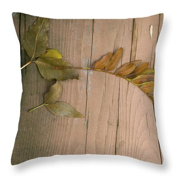 Leaves On A Wooden Step Throw Pillow