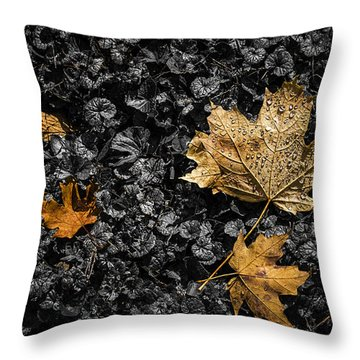 Leaves On Forest Floor Throw Pillow
