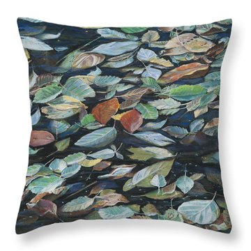 Leaves On Pond Throw Pillow