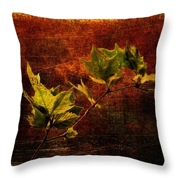 Leaves On Texture Throw Pillow