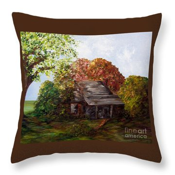 Throw Pillow featuring the painting Leaves On The Cabin Roof by Eloise Schneider