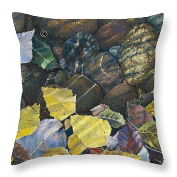 Leaves  Water And Rocks Throw Pillow