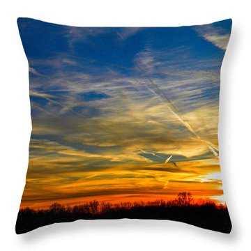 Leavin On A Jetplane Sunset Throw Pillow by Nick Kirby