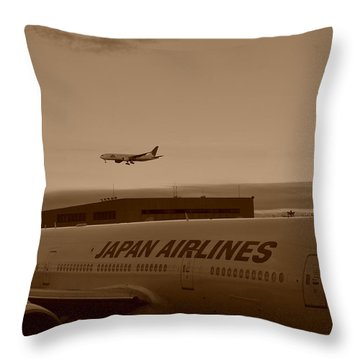 Leaving Japan Throw Pillow by Miguel Winterpacht