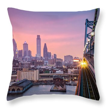 Throw Pillow featuring the photograph Leaving Philadelphia by Mihai Andritoiu
