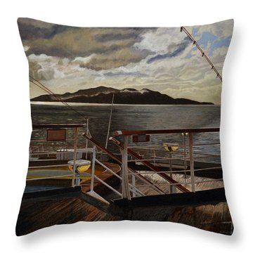 Leaving Queen Charlotte Sound Throw Pillow by Thu Nguyen