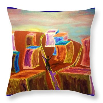 Leaving The Stress Of The City With A  Border Throw Pillow by Irving Starr