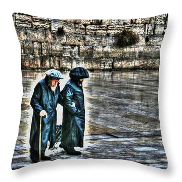 Throw Pillow featuring the photograph Leaving The Western Wall In Israel by Doc Braham