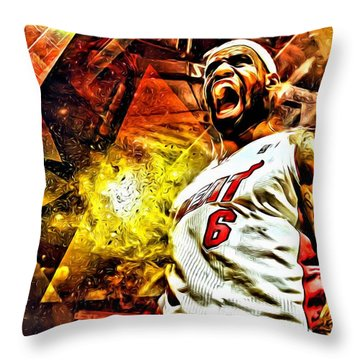 Lebron James Art Poster Throw Pillow by Florian Rodarte