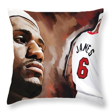 Lebron James Artwork 2 Throw Pillow by Sheraz A