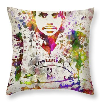 Lebron James In Color Throw Pillow by Aged Pixel