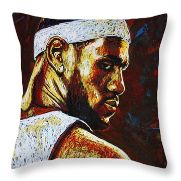 Lebron  Throw Pillow by Maria Arango