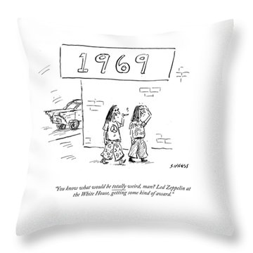 Led Zeppelin At The White House Getting Some Kind Throw Pillow
